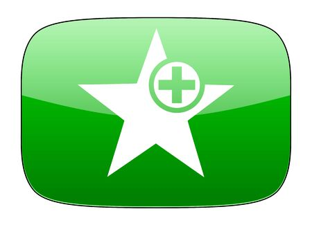 the favourite: star green icon add favourite sign