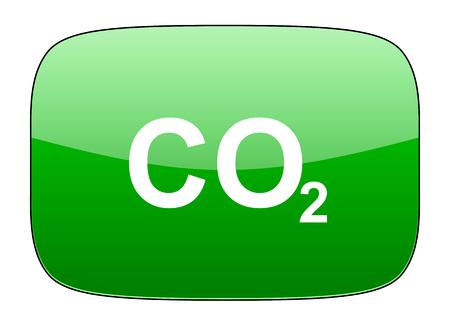 dioxido de carbono: dióxido de carbono icono verde signo de co2 Foto de archivo