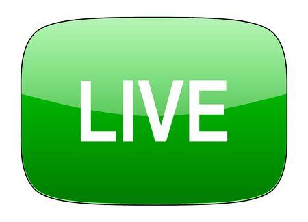 news cast: live green icon Stock Photo