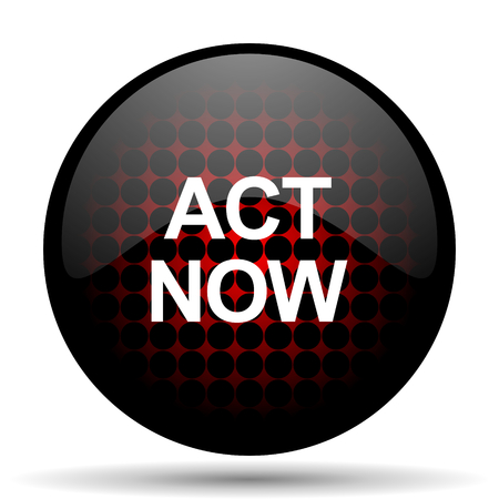 act: act now red glossy web icon