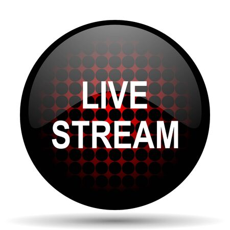 live stream: live stream red glossy web icon Stock Photo