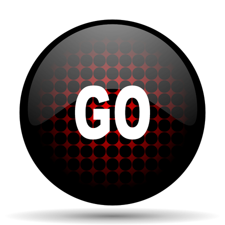approval button: go red glossy web icon Stock Photo