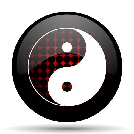 ying yang red glossy web icon photo