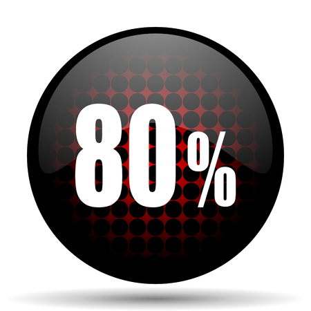 80: 80 percent red glossy web icon Stock Photo