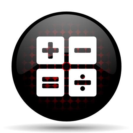 icono web: calculadora icono rojo brillante Web Foto de archivo