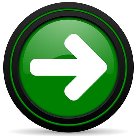 freccia destra: freccia destra icona verde freccia segno Archivio Fotografico