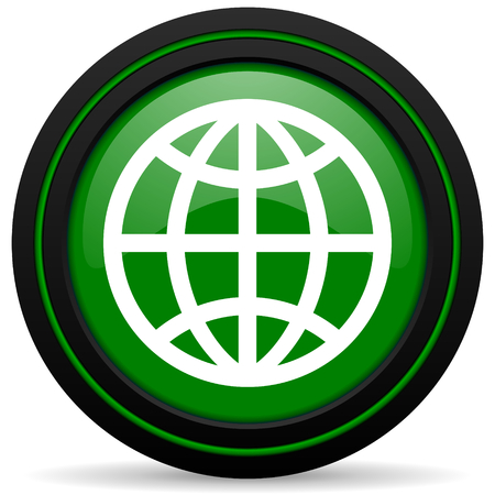 parallels: earth green icon Stock Photo
