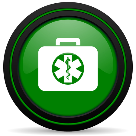 emergency sign: rescue kit green icon emergency sign