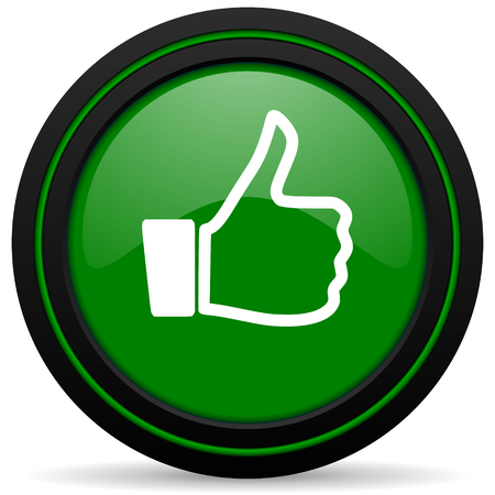 like green icon thumb up sign photo