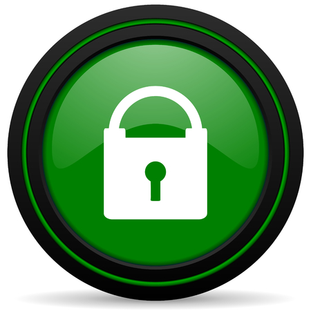secure: padlock green icon secure sign