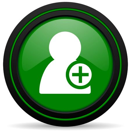 add: add contact green icon Stock Photo
