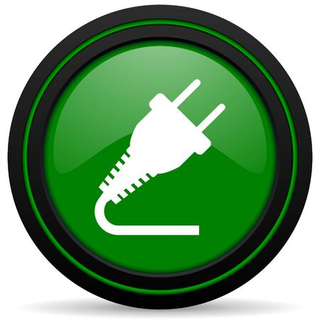 plug green icon electricity sign photo