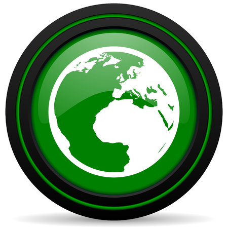 parallels: earth green icon world sign