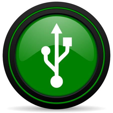 flash memory: usb green icon flash memory sign Stock Photo