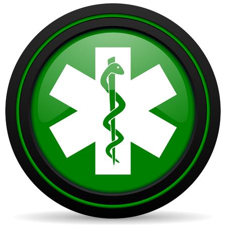 hospital sign: emergency green icon hospital sign Stock Photo