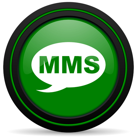 mms icon: mms green icon message sign Stock Photo