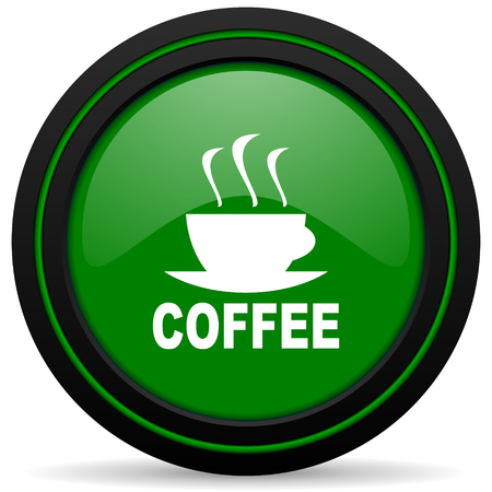 caffee: espresso green icon hot cup of caffee sign Stock Photo