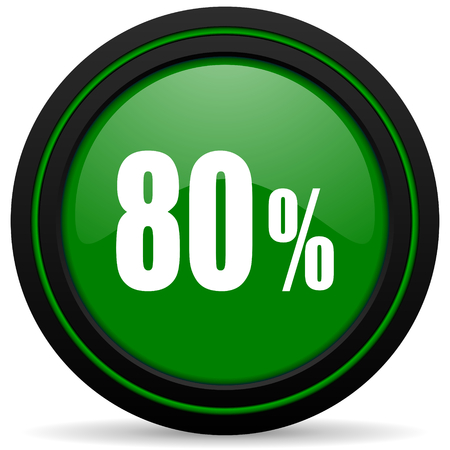 80: 80 percent green icon sale sign