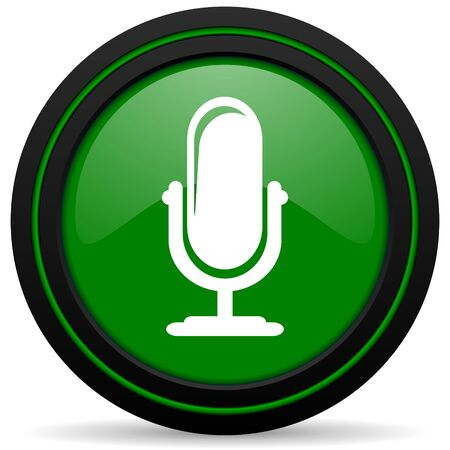 podcast: microphone green icon podcast sign Stock Photo