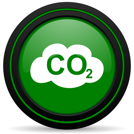 co2: carbon dioxide green icon co2 sign