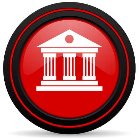 icono web: museo icono rojo brillante Web Foto de archivo
