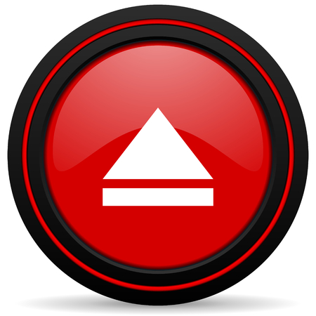 eject: eject red glossy web icon