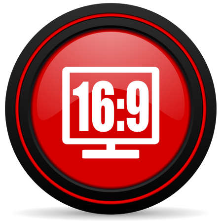 16: 16 9 display red glossy web icon