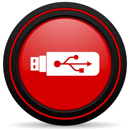 icono web: usb icono rojo brillante Web