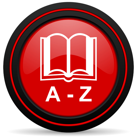 dictionary red glossy web icon