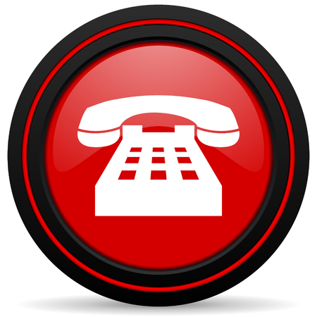 technological and communication: phone red glossy web icon