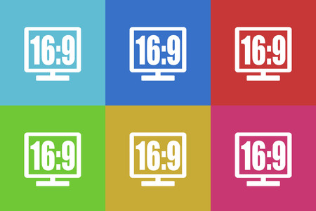 16 9: 16 9 display vector icons set Illustration