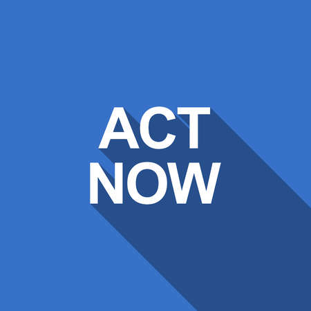 act: act now flat icon