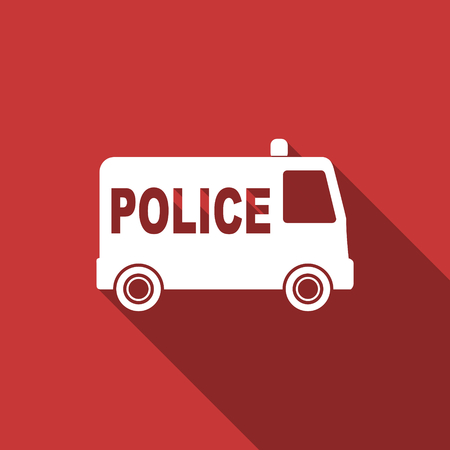 Police car: police flat design modern icon with long shadow for web and mobile app Stock Photo
