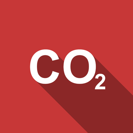 carbonic: carbon dioxide flat design modern icon with long shadow for web and mobile app Stock Photo