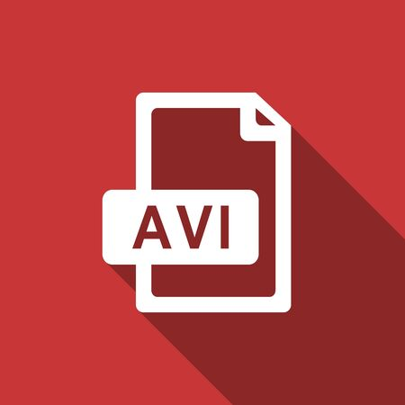 avi: avi file flat design modern icon with long shadow for web and mobile app