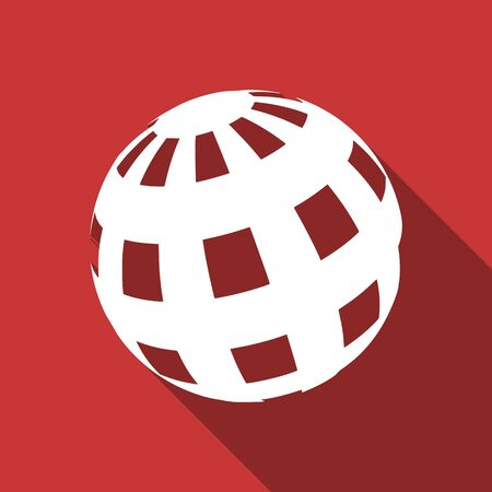 parallels: earth flat design modern icon with long shadow for web and mobile app