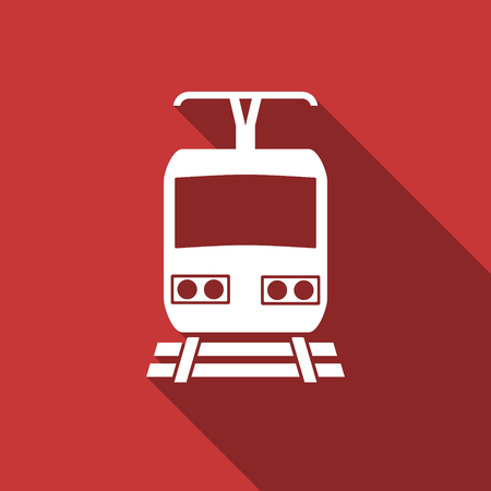 train flat design modern icon with long shadow for web and mobile app photo