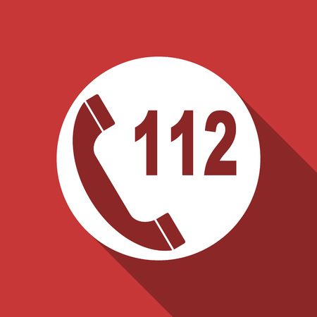 emergency call flat design modern icon with long shadow for web and mobile app photo