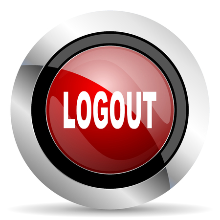 Log Out: logout red glossy web icon
