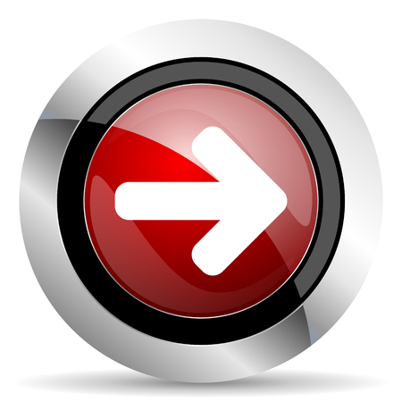 navigation panel: right arrow red glossy web icon Stock Photo