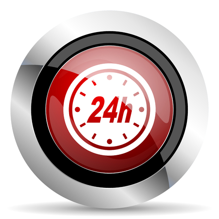 24h: 24h red glossy web icon Stock Photo