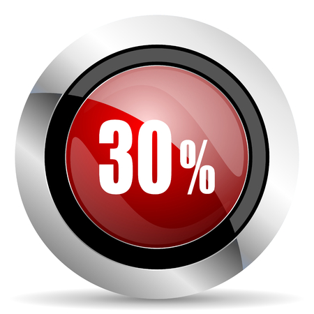 30: 30 percent red glossy web icon