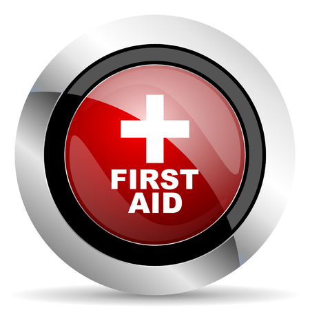 first aid red glossy web icon photo