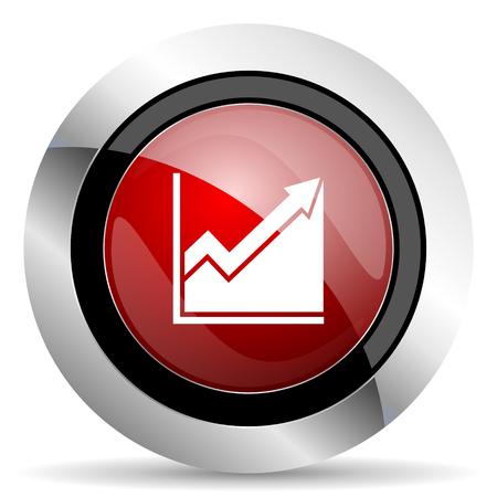 histogram red glossy web icon photo
