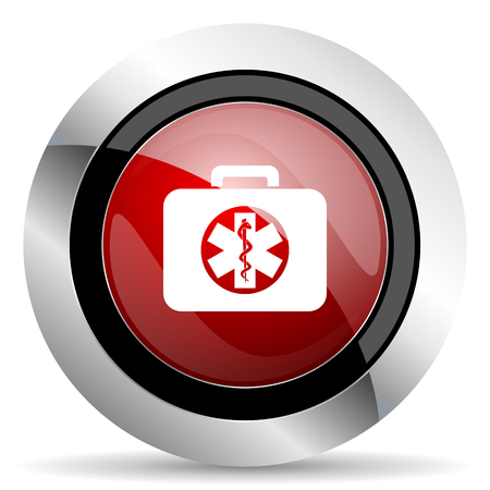 rescue kit red glossy web icon photo