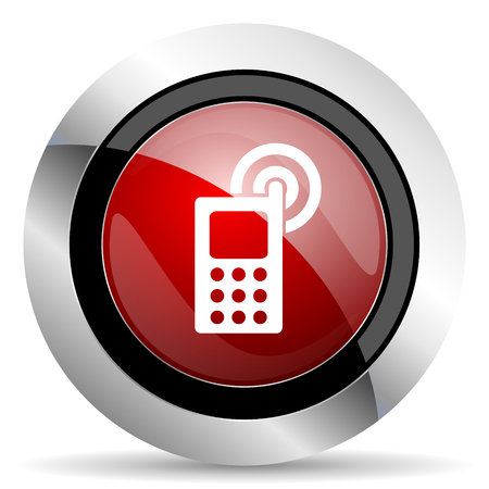 phone red glossy web icon photo