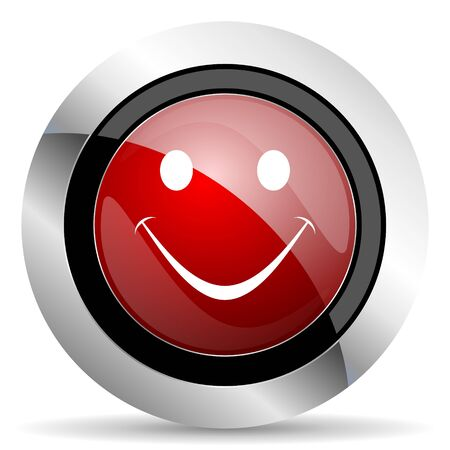 yea: smile red glossy web icon Stock Photo