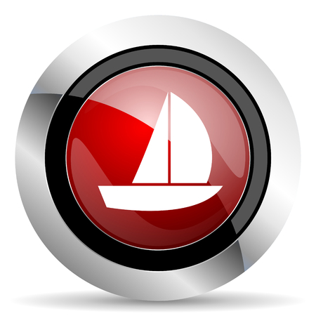 yacht red glossy web icon photo