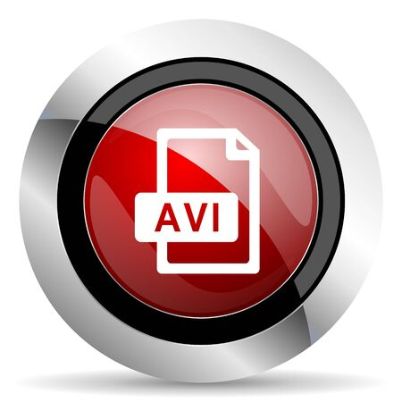 avi: avi file red glossy web icon Stock Photo