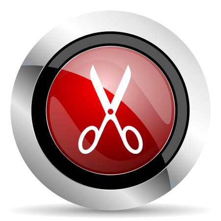 scissors red glossy web icon photo